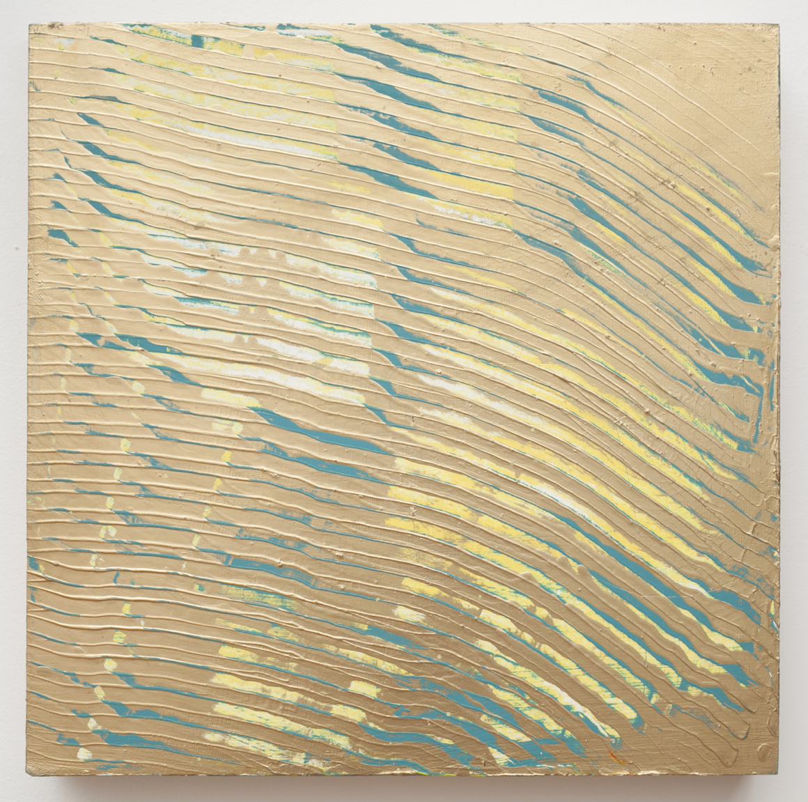 "<p><span class=""name"">Adam Bateman</span><br><em>Gold and Yellow</em><span class='media'>acrylic and spray paint on panel</span>13 x 13in<br>2014<br></p>"
