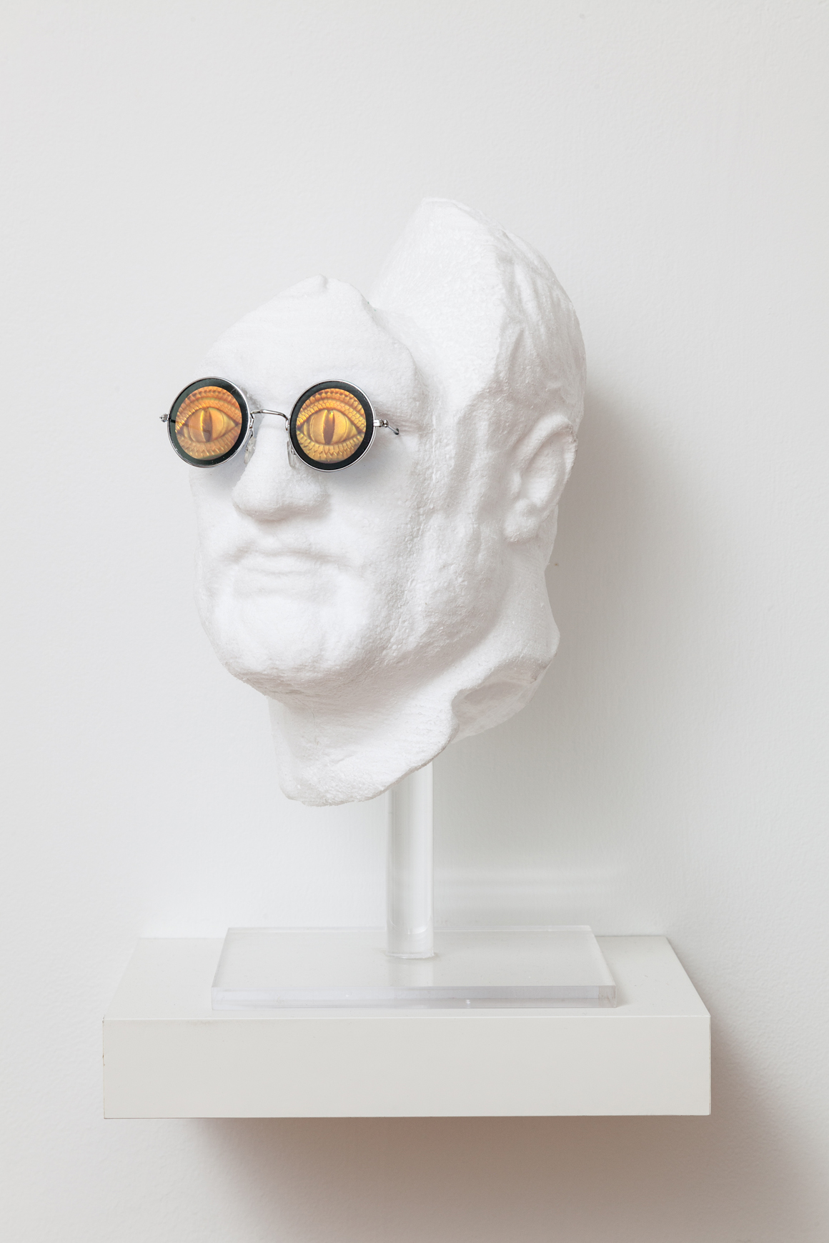 "<p><span class=""name"">Dmitri Obergfell</span><br><em>Untitled (head)</em><span class='media'>Polystyrene, holographic sunglasses</span>16 x 9 x 9 in (40.6 x 22.9 x 22.9 cm)<br>x  in  (0 x 0 cm) Framed (framed)<br>2017<br><a class='inquire' href='mailto:info@gildargallery.com?subject=Artwork Inquiry DOBE0030&body=I am interested in finding out more about Untitled (head) by Dmitri Obergfell'>Inquire</a></p>"