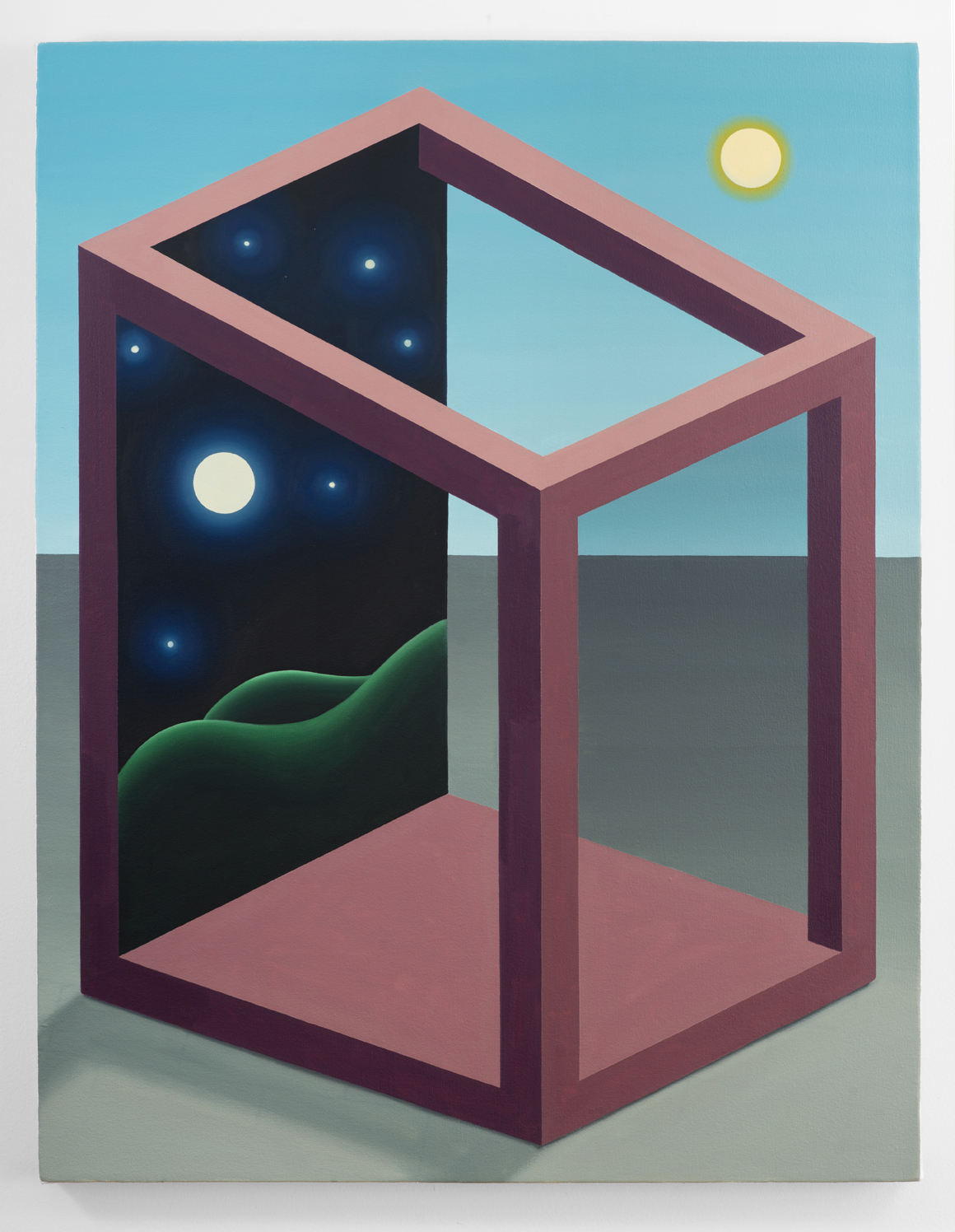 "<p><span class=""name"">Emily Ludwig Shaffer</span><br><em>Shadow box moon back</em><span class='media'>Oil on canvas</span>36 x 28 in (91.4 x 71.1 cm)<br>2018<br></p>"