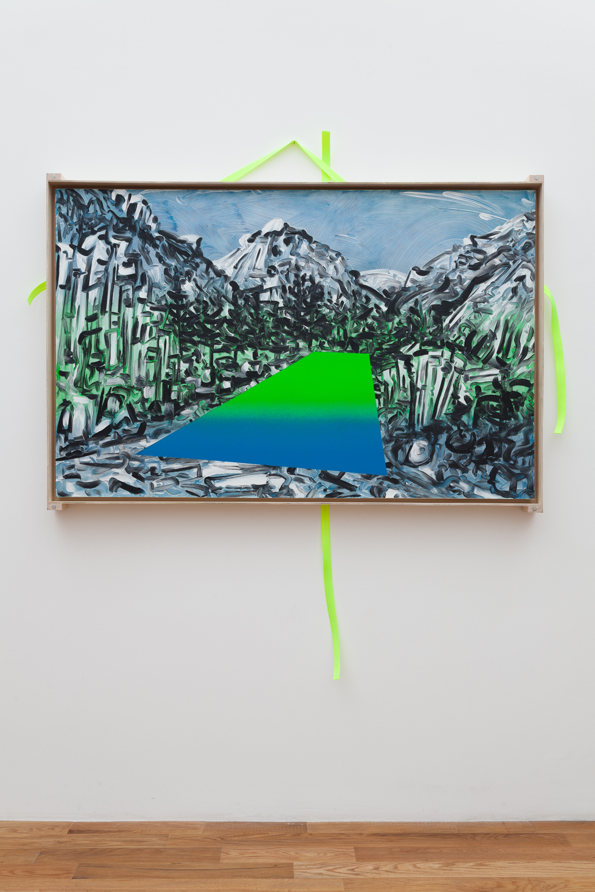 "<p><em>40°41'06.8""N 105°23'16.6""W</em><span class='media'>Oil on DayGlo with transportation crate and straps</span>36 x 56 in  (91.4 x 142.2 cm)<br>2015<br><a class='inquire' href='mailto:info@gildargallery.com?subject=Artwork Inquiry JCOC0007&body=I am interested in finding out more about 40°41'06.8""N 105°23'16.6""W by Joey Cocciardi'>Inquire</a></p>"