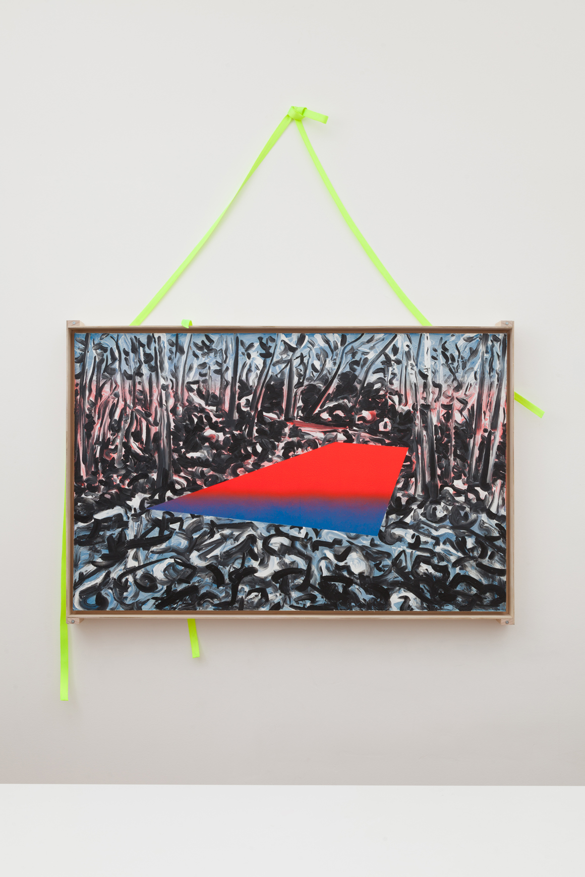 "<p><em>39°44'15.9""N 106°08'27.2""W</em><span class='media'>Oil on DayGlo with transportation crate and straps</span>36 x 56 in  (91.4 x 142.2 cm)<br>2015<br><a class='inquire' href='mailto:info@gildargallery.com?subject=Artwork Inquiry JCOC0013&body=I am interested in finding out more about 39°44'15.9""N 106°08'27.2""W by Joey Cocciardi'>Inquire</a></p>"