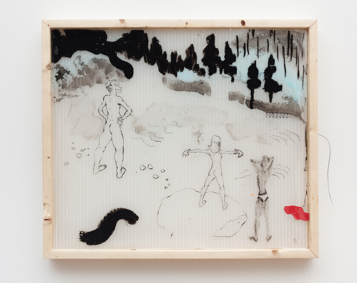 "<p><span class=""name"">Rashawn Griffin</span><br><em>Morning at the cabin in the woods</em><span class='media'>ink, tempura, mixed media on plastic, wood</span>15 x 17.5 in  (38.1 x 44.5 cm)<br>2016<br><a class='inquire' href='mailto:info@gildargallery.com?subject=Artwork Inquiry RGRI0001&body=I am interested in finding out more about Morning at the cabin in the woods by Rashawn Griffin'>Inquire</a></p>"
