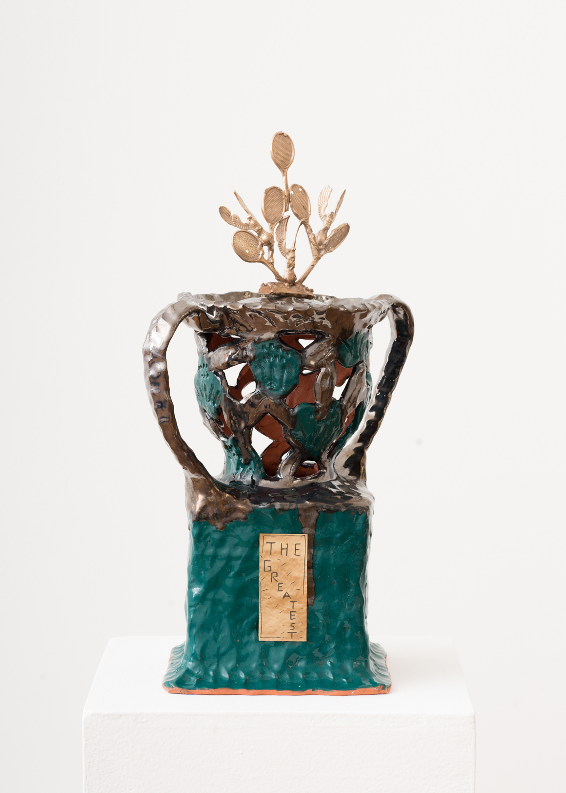 <p><em>Trophy (the greatest)</em><span class='media'>Ceramic, glaze, bronze, brass</span>18 x 9.5 x 9.5 in (45.7 x 24.1 x 24.1 cm)<br>2018<br><a class='inquire' href='mailto:info@gildargallery.com?subject=Artwork Inquiry SKAN0004&body=I am interested in finding out more about Trophy (the greatest) by Stephanie Kantor'>Inquire</a></p>