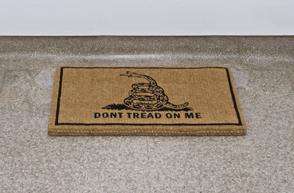 "<p><span class=""name"">Zach Reini</span><br><em>Don't Tread</em><span class='media'>Custom coir welcome mat</span>36 x 22 x 2 in (91.4 x 55.9 x 5.1 cm)<br>Edition of Edition of 3<br>2012<br><a class='inquire' href='mailto:info@gildargallery.com?subject=Artwork Inquiry ZREI0008&body=I am interested in finding out more about Don't Tread by Zach Reini'>Inquire</a></p>"