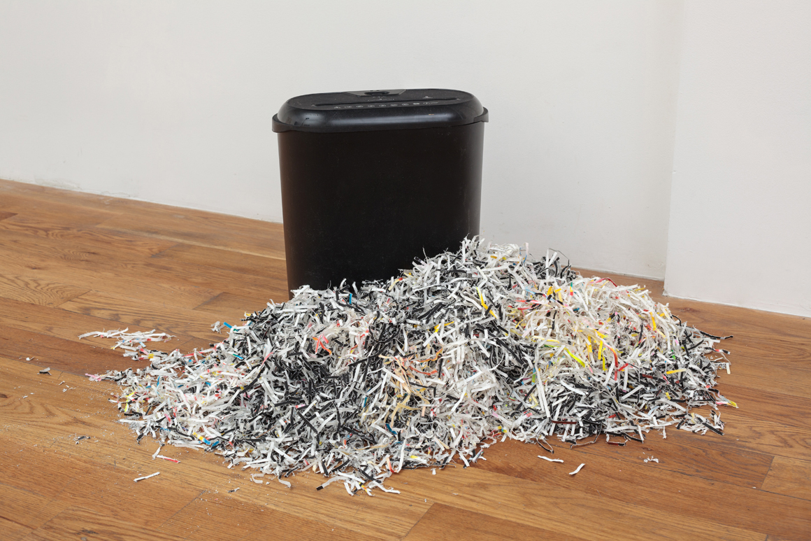 "<p><span class=""name"">Zach Reini</span><br><em>Untitled (Shred It)</em><span class='media'>Paper shredder and three shredded paintings</span>Dimensions variable<br>2018<br><a class='inquire' href='mailto:info@gildargallery.com?subject=Artwork Inquiry ZREI0049&body=I am interested in finding out more about Untitled (Shred It) by Zach Reini'>Inquire</a></p>"