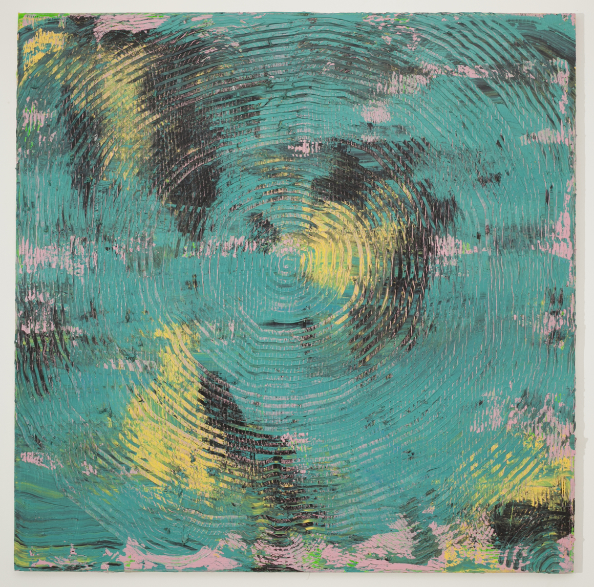 "<p><span class=""name"">Adam Bateman</span><br><em>Teal</em><span class='media'>acrylic and spray paint on canvas</span>72 x 72 in (182.9 x 182.9 cm)<br>2014<br></p>"