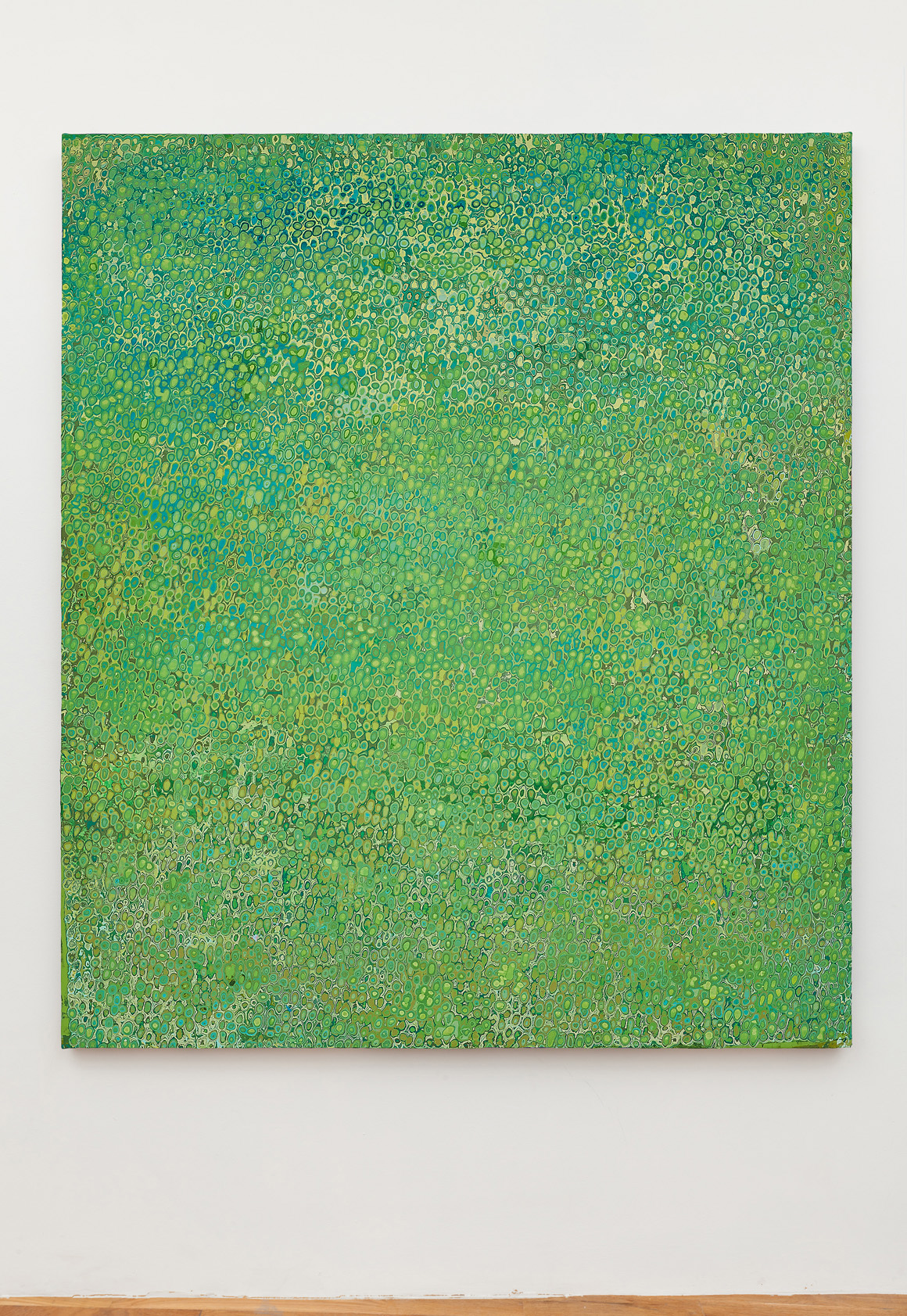 """<p><span class=""""name"""">Andrew Jensdotter</span><br><em>Green 79</em><span class='media'>Carved latex on canvas</span>80 x 68 in (203.2 x 172.7 cm)<br>2018<br><a class='inquire' href='mailto:info@gildargallery.com?subject=Artwork Inquiry AJEN0050&body=I am interested in finding out more about Green 79 by Andrew Jensdotter'>Inquire</a></p>"""