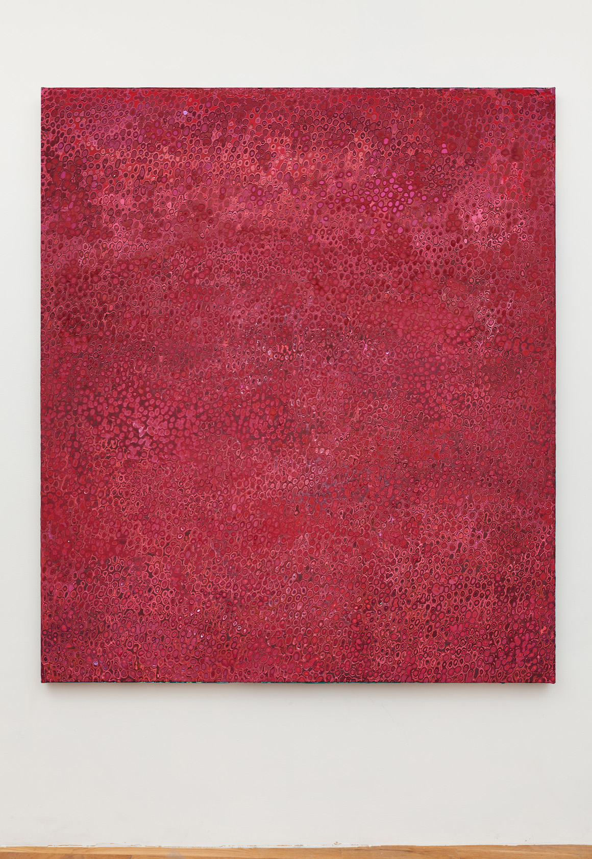 """<p><span class=""""name"""">Andrew Jensdotter</span><br><em>Red 75</em><span class='media'>Carved latex on canvas</span>80 x 68 in (203.2 x 172.7 cm)<br>2018<br><a class='inquire' href='mailto:info@gildargallery.com?subject=Artwork Inquiry AJEN0052&body=I am interested in finding out more about Red 75 by Andrew Jensdotter'>Inquire</a></p>"""