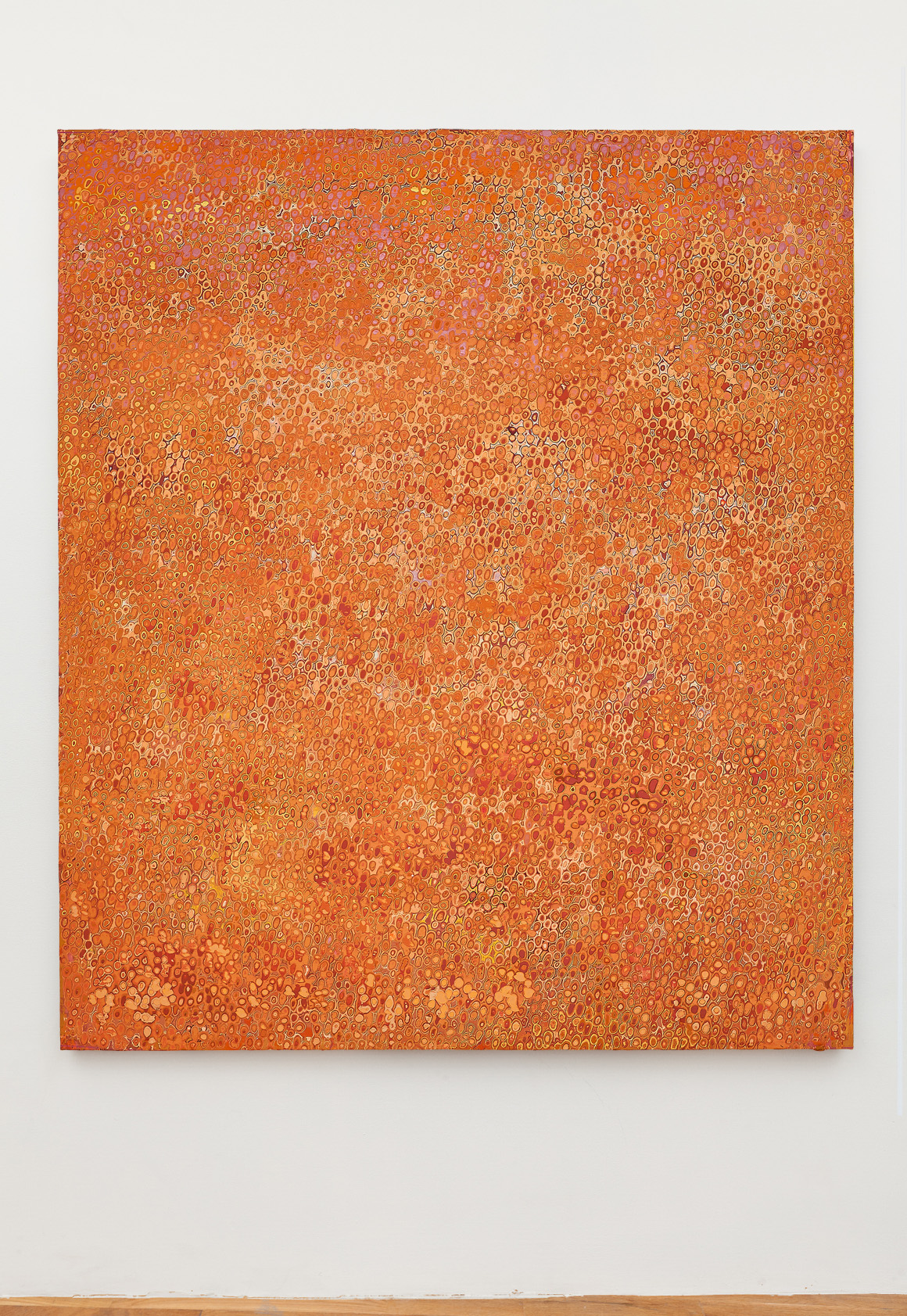 """<p><span class=""""name"""">Andrew Jensdotter</span><br><em>Orange 70</em><span class='media'>Carved latex on canvas</span>80 x 68 in (203.2 x 172.7 cm)<br>2018<br><a class='inquire' href='mailto:info@gildargallery.com?subject=Artwork Inquiry AJEN0054&body=I am interested in finding out more about Orange 70 by Andrew Jensdotter'>Inquire</a></p>"""