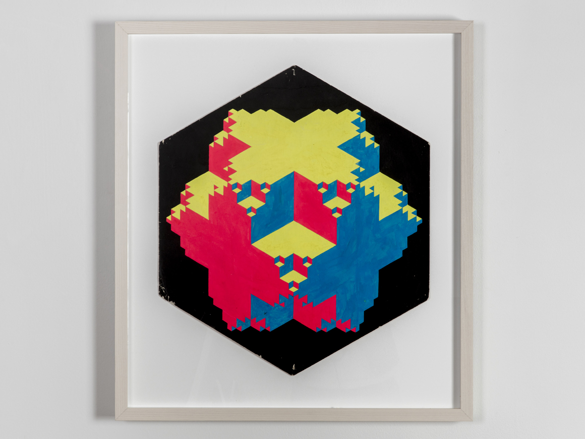 """<p><em>Convex-Concave</em><span class='media'>Dayglo on paper</span>edge: 12 3/8"""", diam. 24 3/4"""", width 21 1/2"""" 