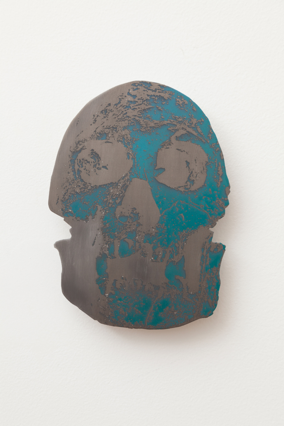 """<p><span class=""""name"""">Dmitri Obergfell</span><br><em>Dmanisi skull</em><span class='media'>laser etched interference paint on aluminum</span>9 x 6 3/4in<br>2014<br><a class='inquire' href='mailto:info@gildargallery.com?subject=Artwork Inquiry DOBE0010&body=I am interested in finding out more about Dmanisi skull by Dmitri Obergfell'>Inquire</a></p>"""