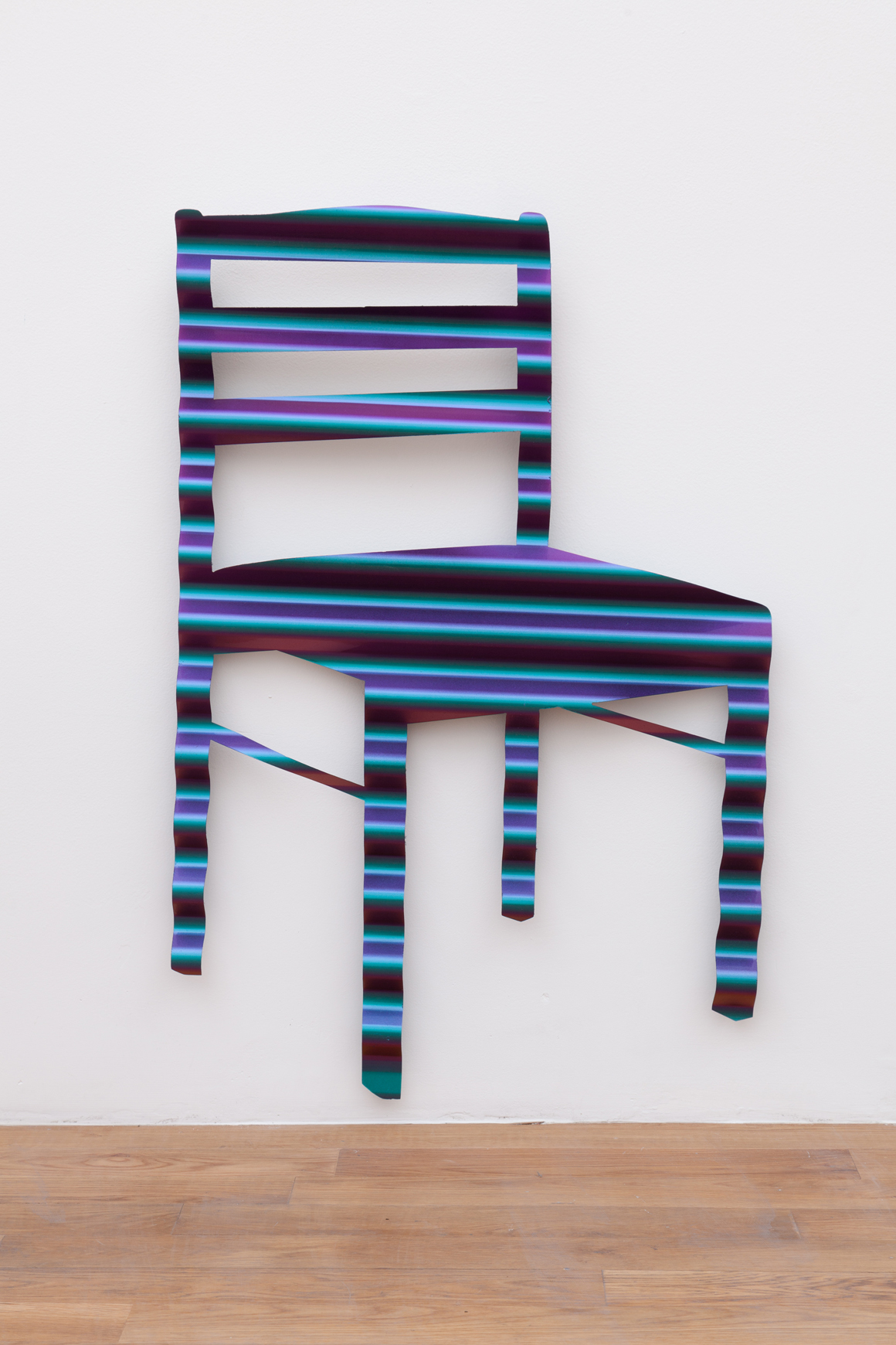 "<p><span class=""name"">Dmitri Obergfell</span><br><em>2 Chairs</em><span class='media'>Chameleon auto paint on corrugated steel</span>35 x 23 in (88.9 x 58.4 cm)<br>2017<br><a class='inquire' href='mailto:info@gildargallery.com?subject=Artwork Inquiry DOBE0028&body=I am interested in finding out more about 2 Chairs by Dmitri Obergfell'>Inquire</a></p>"
