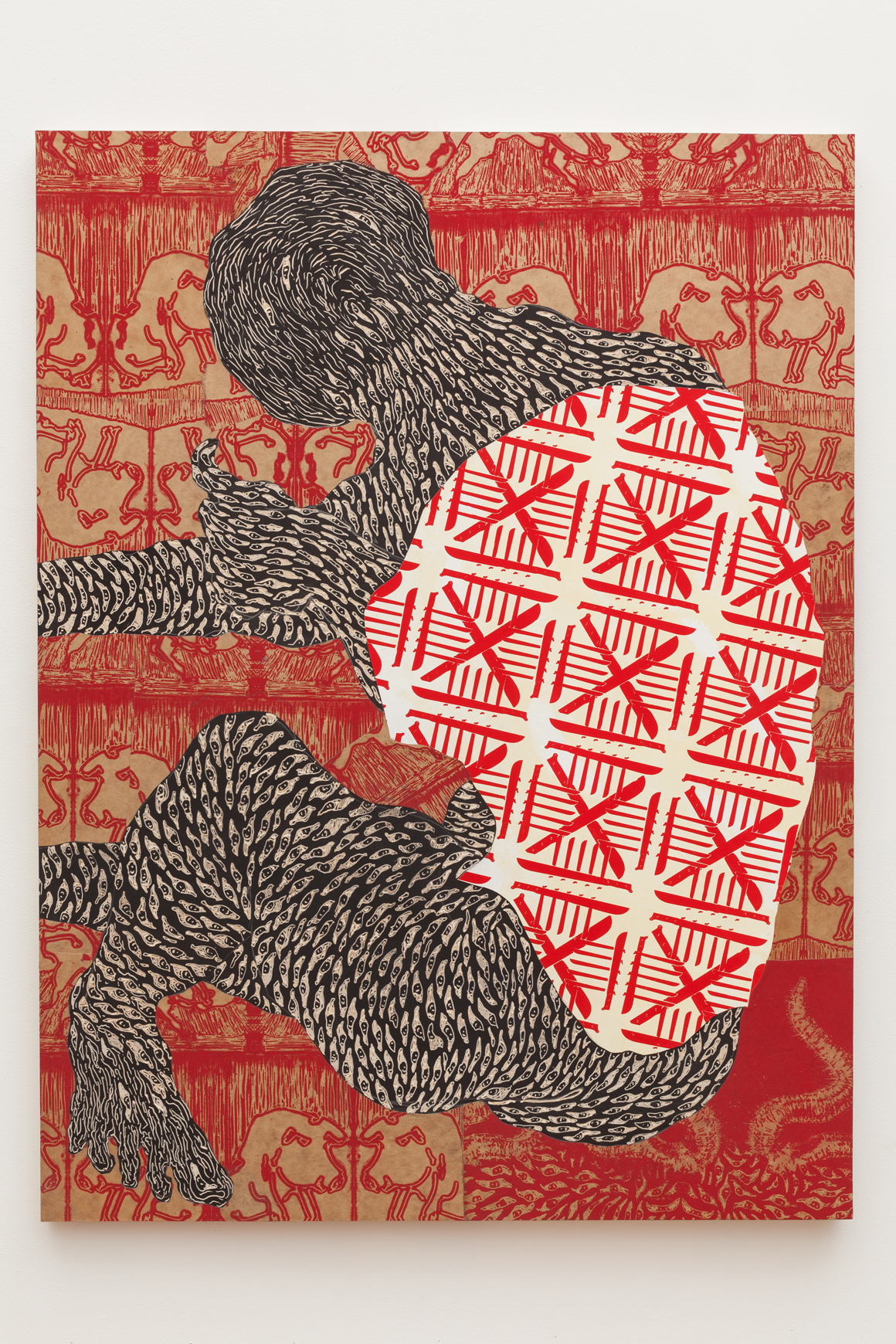"""<p><span class=""""name"""">Didier William</span><br><em>M' Pito Rete a Kochon Yo</em><span class='media'>Collage, carving and ink on panel</span>48 x 36 in (121.9 x 91.4 cm)<br>2018<br></p>"""