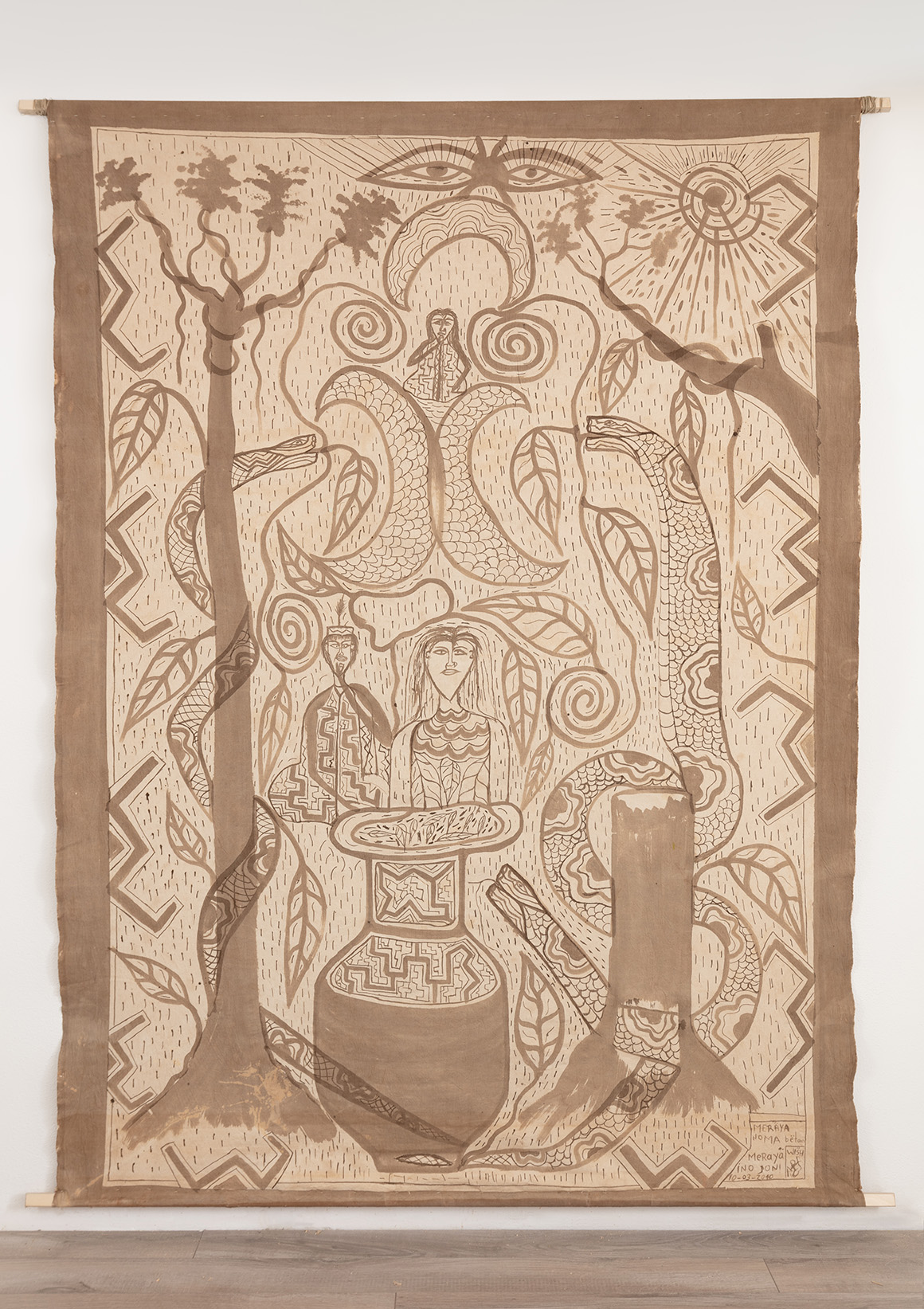"<p><span class=""name"">The Estate of Filder Agustín Peña</span><br><em>La Mujer Curandera y el Hombre Jaguar Curandero</em><span class='media'>Ayahuasca on fabric</span>81 x 62 in(205.7 x 157.5 cm)<br>2018<br><a class='inquire' href='mailto:info@gildargallery.com?subject=Artwork Inquiry FAPE0005&body=I am interested in finding out more about La Mujer Curandera y el Hombre Jaguar Curandero by The Estate of Filder Agustín Peña'>Inquire</a></p>"