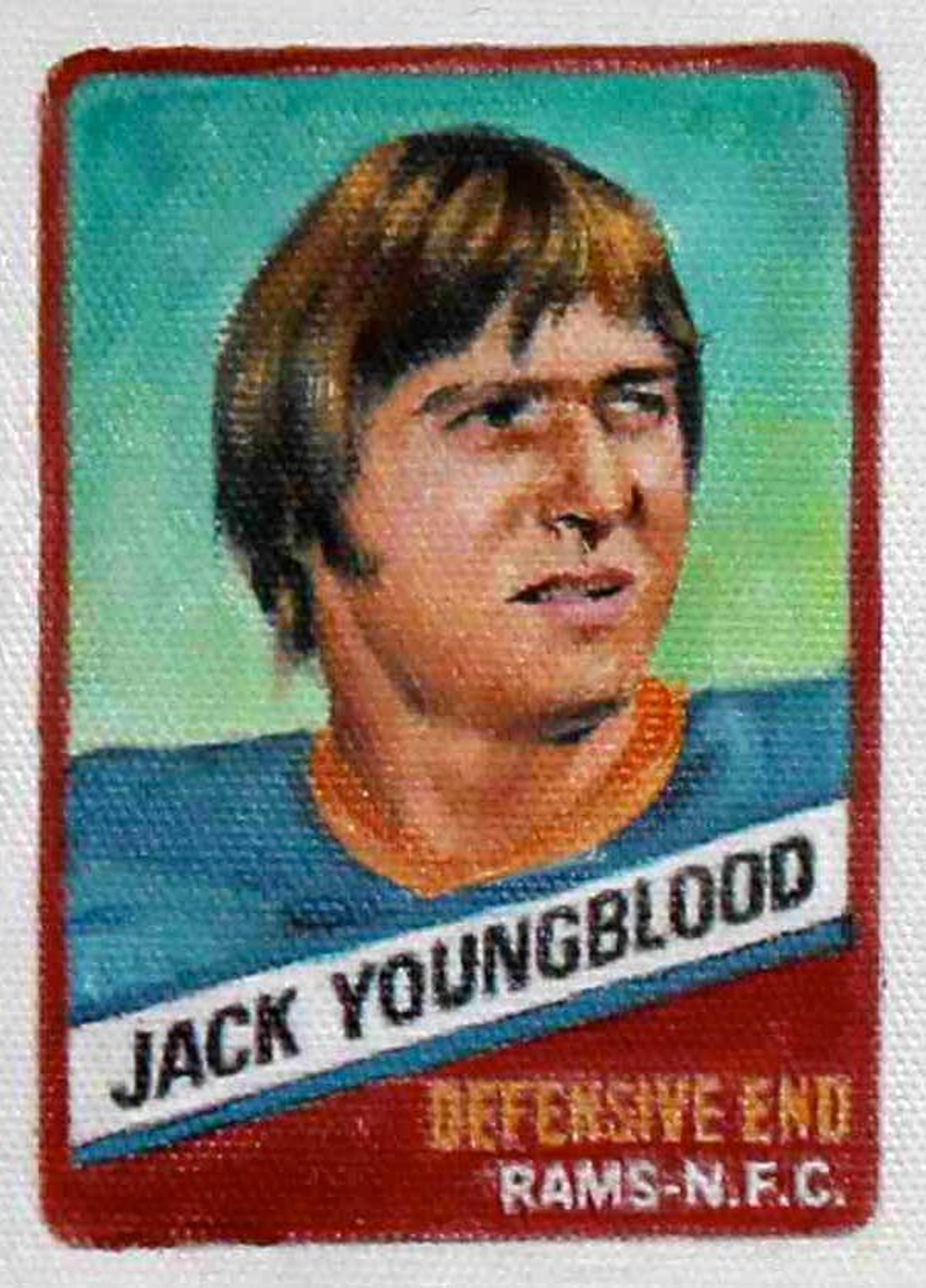 """<p><span class=""""name"""">Jim Thompson</span><br><em>Jack Youngblood (1977 series)</em><span class='media'>oil on canvas</span>4 x 3 in (10.2 x 7.6 cm)<br>2012<br></p>"""