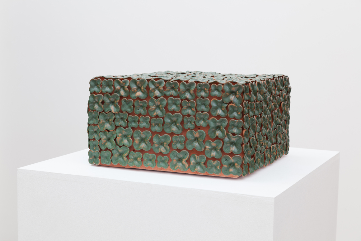 <p><em>Grotto (Box with the Sound of its own Making)</em><span class='media'>Glazed terracotta, electronics</span>13 x 13 x 7 in (33 x 33 x 17.8 cm)<br>2015<br></p>