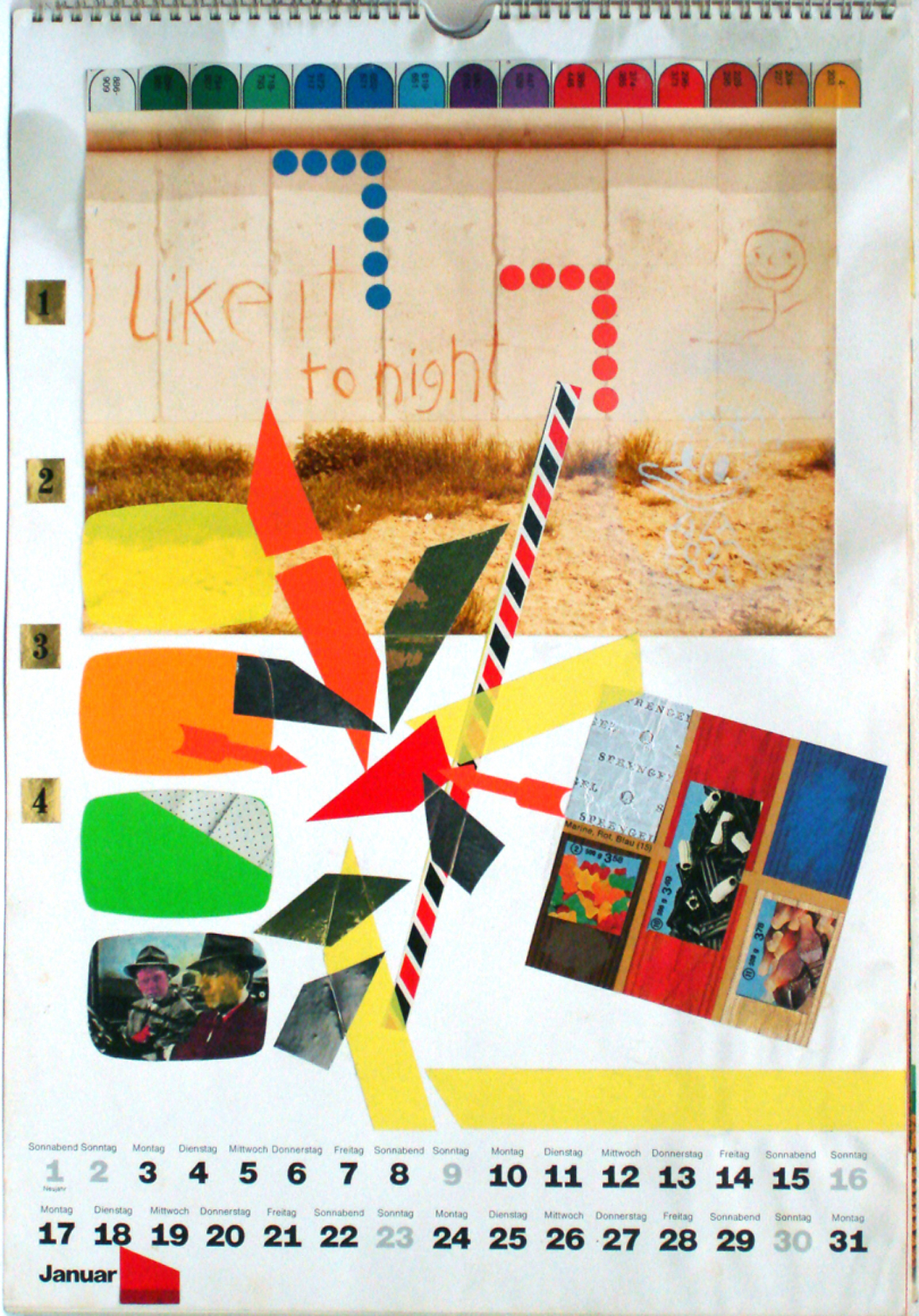 """<p><span class=""""name"""">Moritz Reichelt</span><br><em>Calendar 1977 January</em><span class='media'>collage</span>16 x 11.25 in (40.6 x 28.6 cm)<br>20.75 x 16.75 in (52.7 x 42.5 cm) Framed (framed)<br>1977<br><a class='inquire' href='mailto:info@gildargallery.com?subject=Artwork Inquiry MREI0010&body=I am interested in finding out more about Calendar 1977 January by Moritz Reichelt'>Inquire</a></p>"""