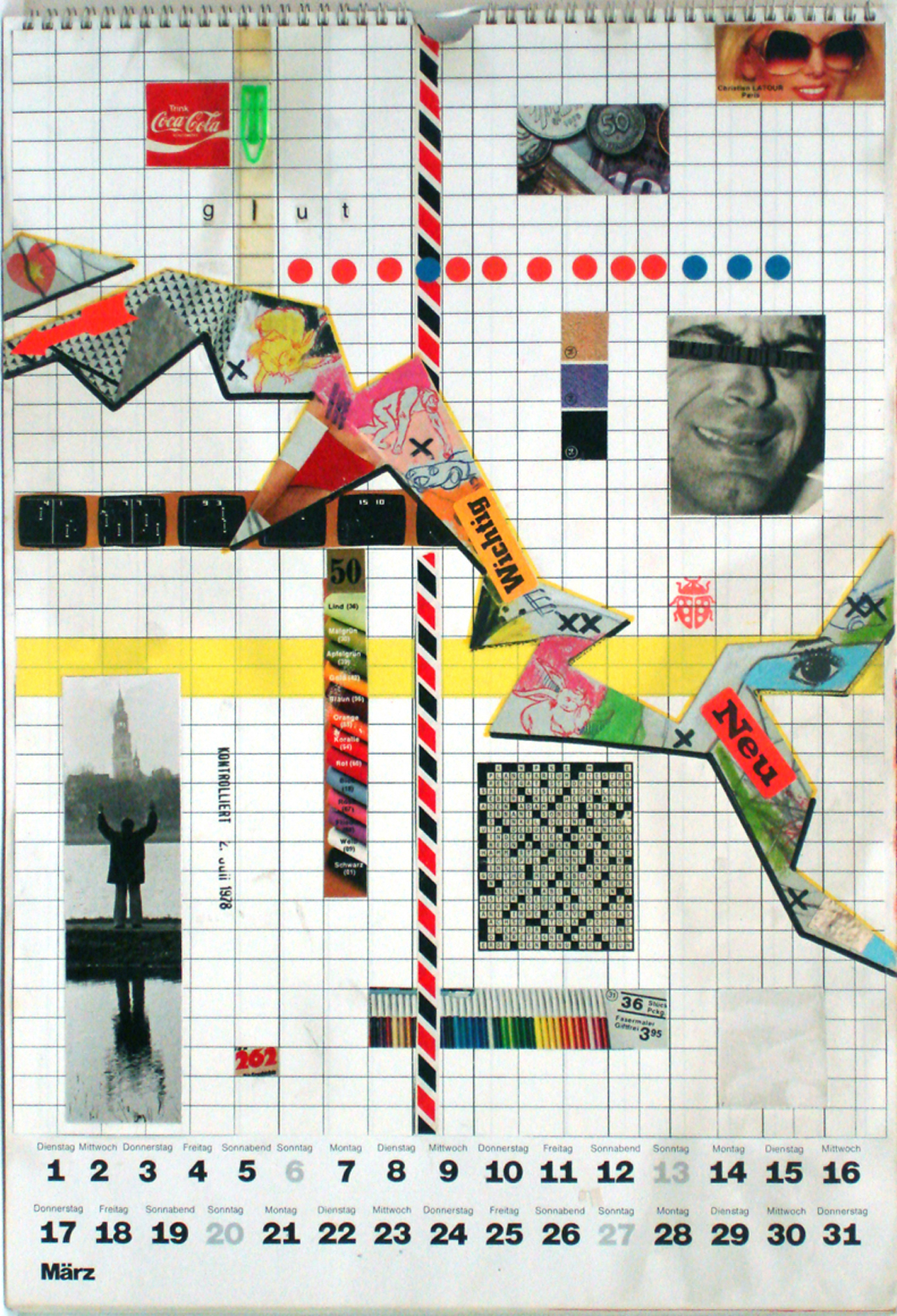 """<p><span class=""""name"""">Moritz Reichelt</span><br><em>Calendar 1977 March</em><span class='media'>collage</span>16 x 11.25 in (40.6 x 28.6 cm)<br>20.75 x 16.75 in (52.7 x 42.5 cm) Framed (framed)<br>1977<br><a class='inquire' href='mailto:info@gildargallery.com?subject=Artwork Inquiry MREI0013&body=I am interested in finding out more about Calendar 1977 March by Moritz Reichelt'>Inquire</a></p>"""