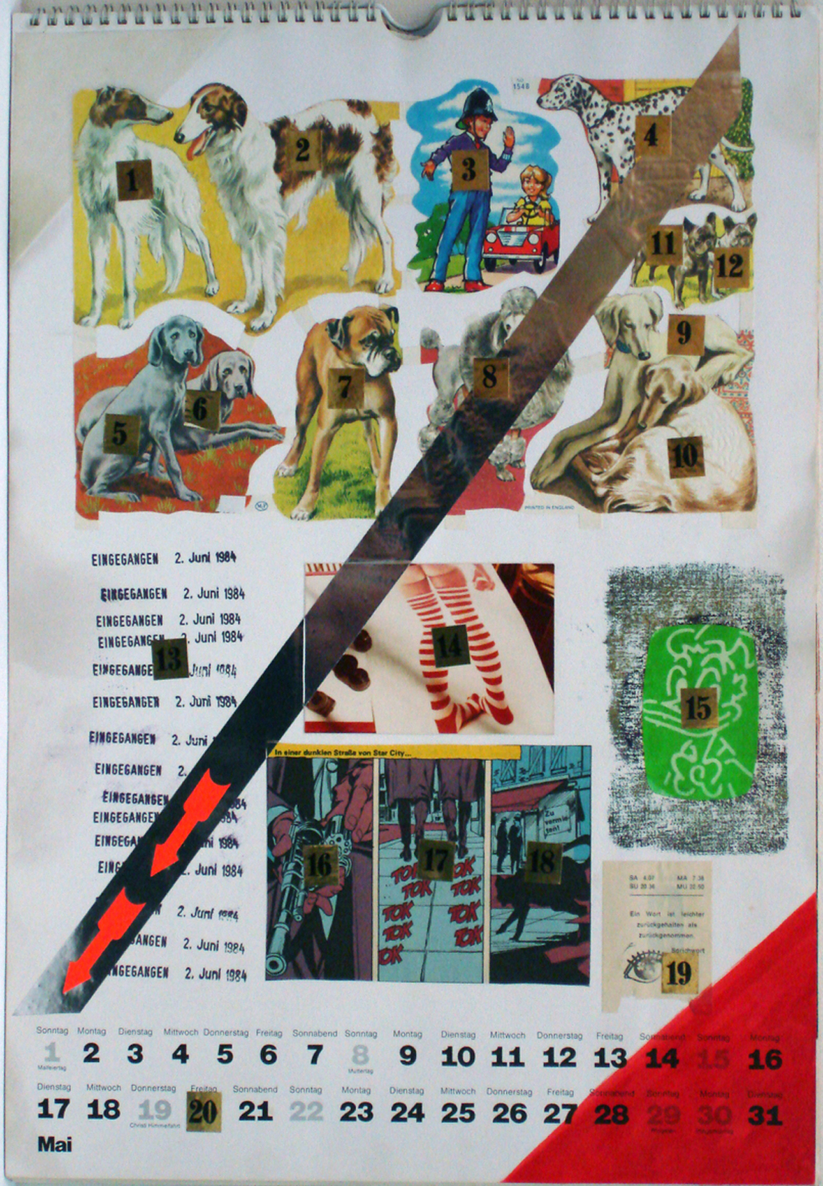 """<p><span class=""""name"""">Moritz Reichelt</span><br><em>Calendar 1977 May</em><span class='media'>collage</span>16 x 11.25 in (40.6 x 28.6 cm)<br>20.75 x 16.75 in (52.7 x 42.5 cm) Framed (framed)<br>1977<br><a class='inquire' href='mailto:info@gildargallery.com?subject=Artwork Inquiry MREI0014&body=I am interested in finding out more about Calendar 1977 May by Moritz Reichelt'>Inquire</a></p>"""
