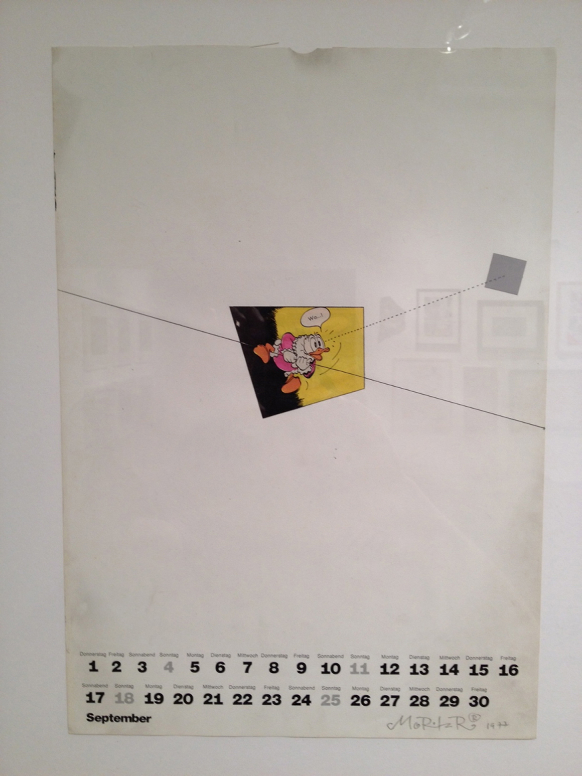 """<p><span class=""""name"""">Moritz Reichelt</span><br><em>Calendar 1977 September</em><span class='media'>collage</span>16 x 11.25 in (40.6 x 28.6 cm)<br>20.75 x 16.75 in (52.7 x 42.5 cm) Framed (framed)<br>1977<br><a class='inquire' href='mailto:info@gildargallery.com?subject=Artwork Inquiry MREI0017&body=I am interested in finding out more about Calendar 1977 September by Moritz Reichelt'>Inquire</a></p>"""