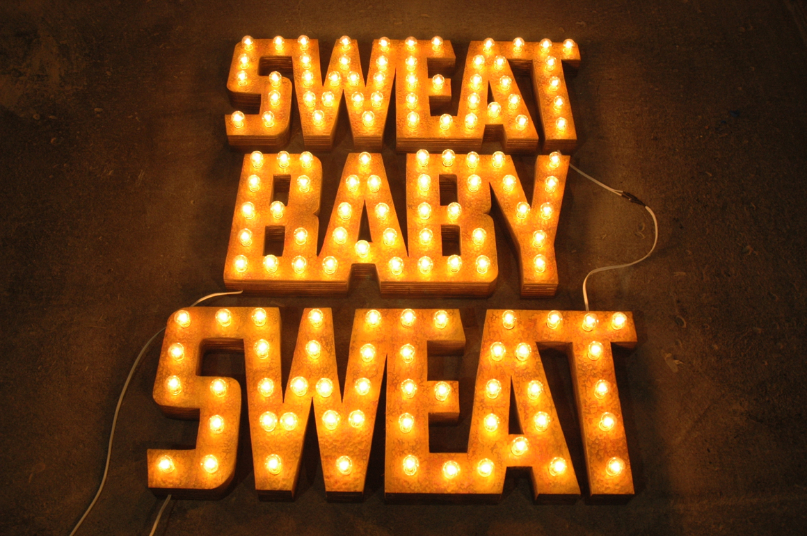 """<p><span class=""""name"""">Ryan Everson</span><br><em>Sweat Baby Sweat</em><span class='media'>plywood, lights</span>45.75 x 33 x 3.75 in (116.2 x 83.8 x 9.5 cm)<br>Edition of Edition of Edition of 2<br>2013<br><a class='inquire' href='mailto:info@gildargallery.com?subject=Artwork Inquiry REVE0000&body=I am interested in finding out more about Sweat Baby Sweat by Ryan Everson'>Inquire</a></p>"""