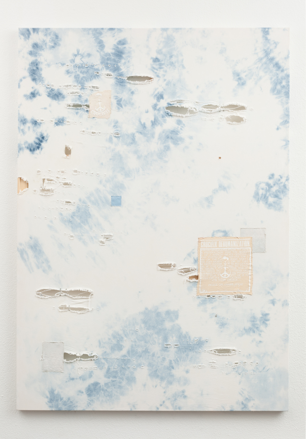 """<p><span class=""""name"""">Zach Reini</span><br><em>Untitled Crucifix (Power Is Power)</em><span class='media'>Bleach, dental floss, safety pins, canvas patches on denim</span>76 x 54 in (193 x 137.2 cm)<br>2015<br></p>"""